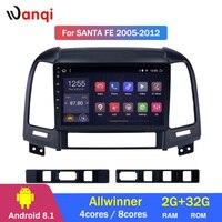 2G ram 32G rom Android 8,1 автомобильный мультимидийный Навигатор Радио стерео для hyundai Santa Fe 2005 2012 Автомобильный видео навигация