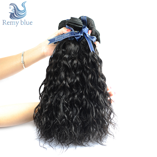 Remy Blue Hair Malaysian Water Wave 4 Bundles Human Hair Extensions