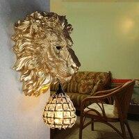 Скандинавском стиле смолы львиная голова статуи бра старинные настенные бра декоративные ресторан коридор гостиная смолы настенные свети