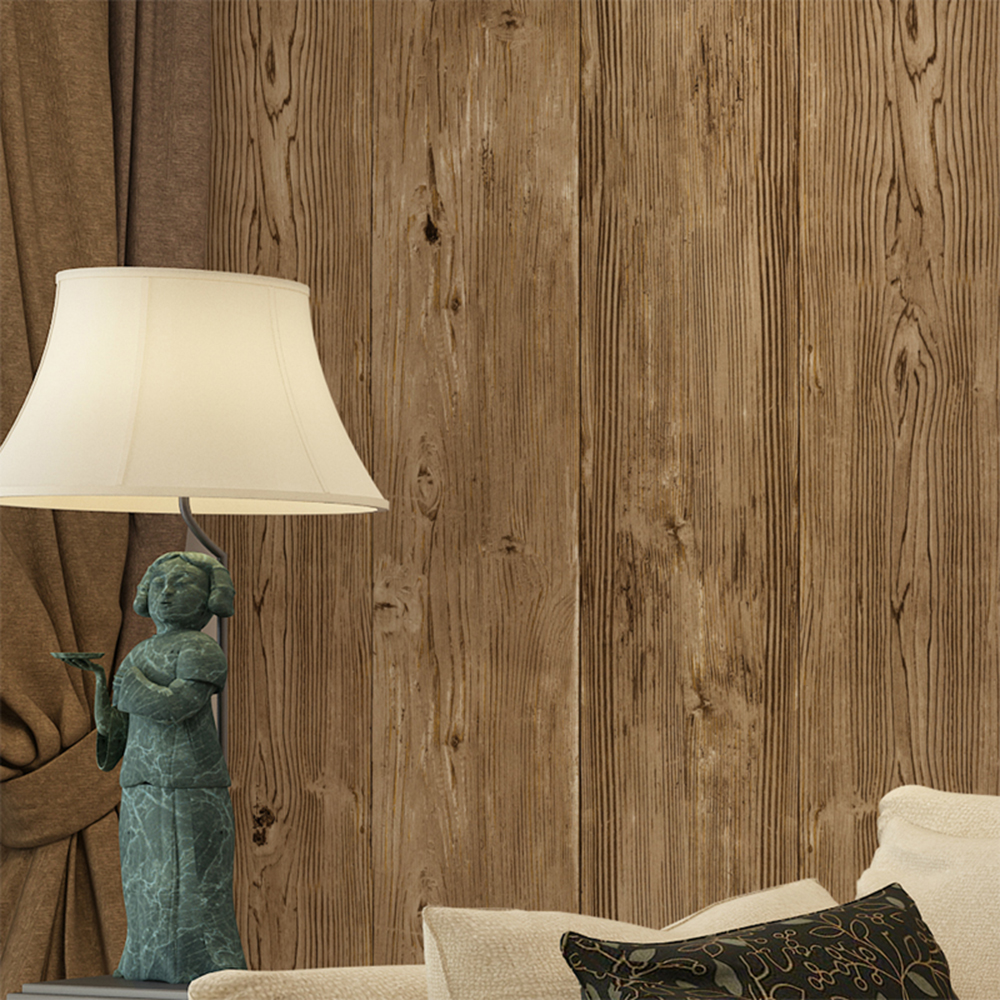Buy haokhome vintage faux wood panel for Wood wallpaper for walls