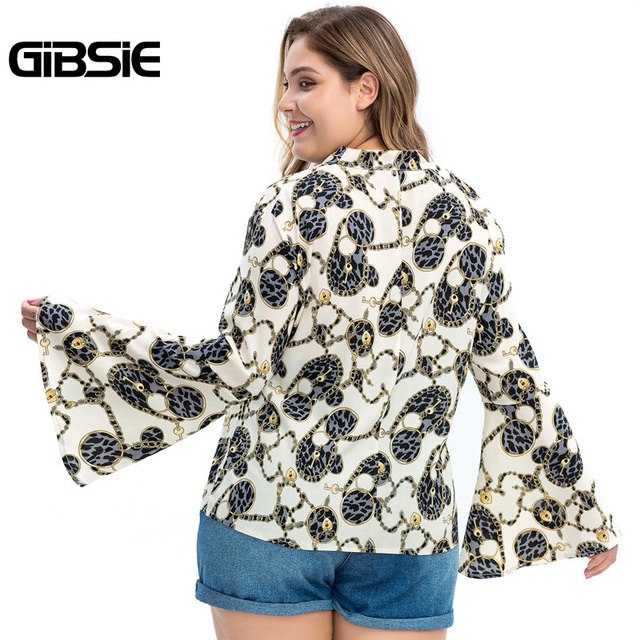 GIBSIE Plus Size Chain Print Bow Tie Neck Long Sleeve Shirt Women Tops Autumn Fashion Elegant Office Lady Workwear Women Blouses 1
