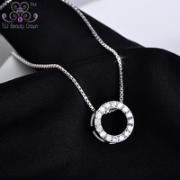 925 Sterling Silver Vintage Micro Pave White Cubic Zirconia Round Donut Pendants & Necklaces For Women Girls Wholesales Jewelry