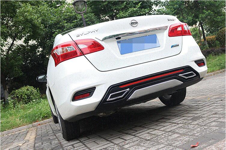 JIOYNG ABS задний багажник спойлер диффузор на выходе выхлопной трубы бампер Защитная крышка для Nissan Sentra 2016 2017 2018