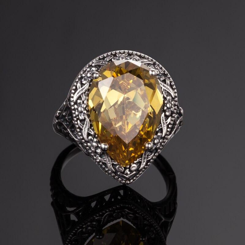 Image 4 - Szjinao 925 пробы Серебряное женское кольцо Carter Love в форме сердца с желтым кристаллом в стиле Виктории, старинное ювелирное изделие, обручальное кольцоwedding bandcarter love ringlove ring -