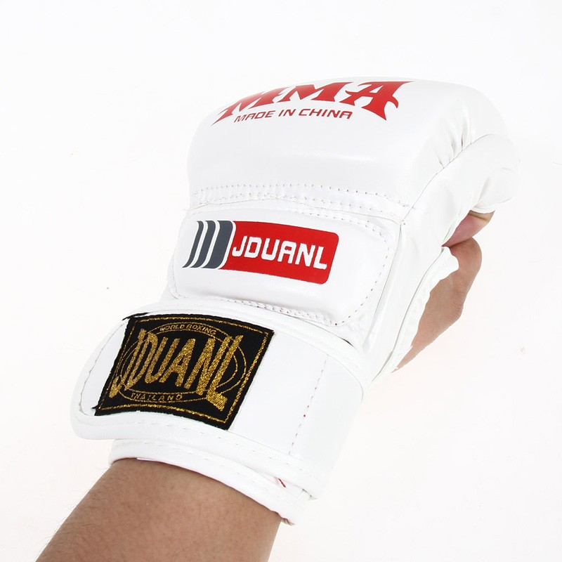 Kick Boxing Gloves PU Leather Half Finger Fight MMA Glove Muay Thai Boxing Training Fitness Boxer Fight Equipment for Adult 7