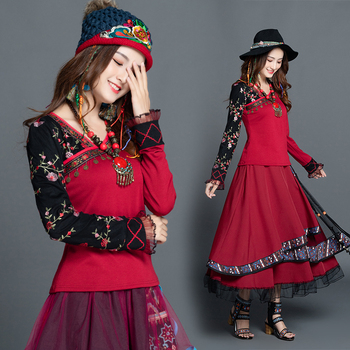 KYQIAO t shirt women pullover female autumn winter Mexico style hippie ethnic design long sleeve black red patchwork tee shirt
