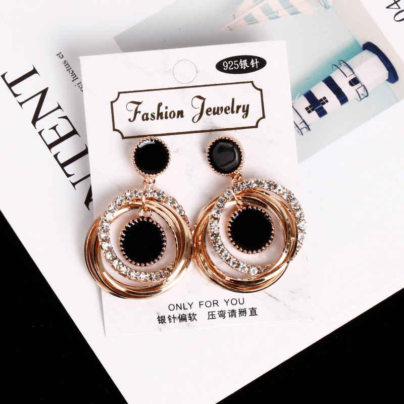 Simple rhinestone circle long earrings temperament Korean personality wild fashion metal pendant