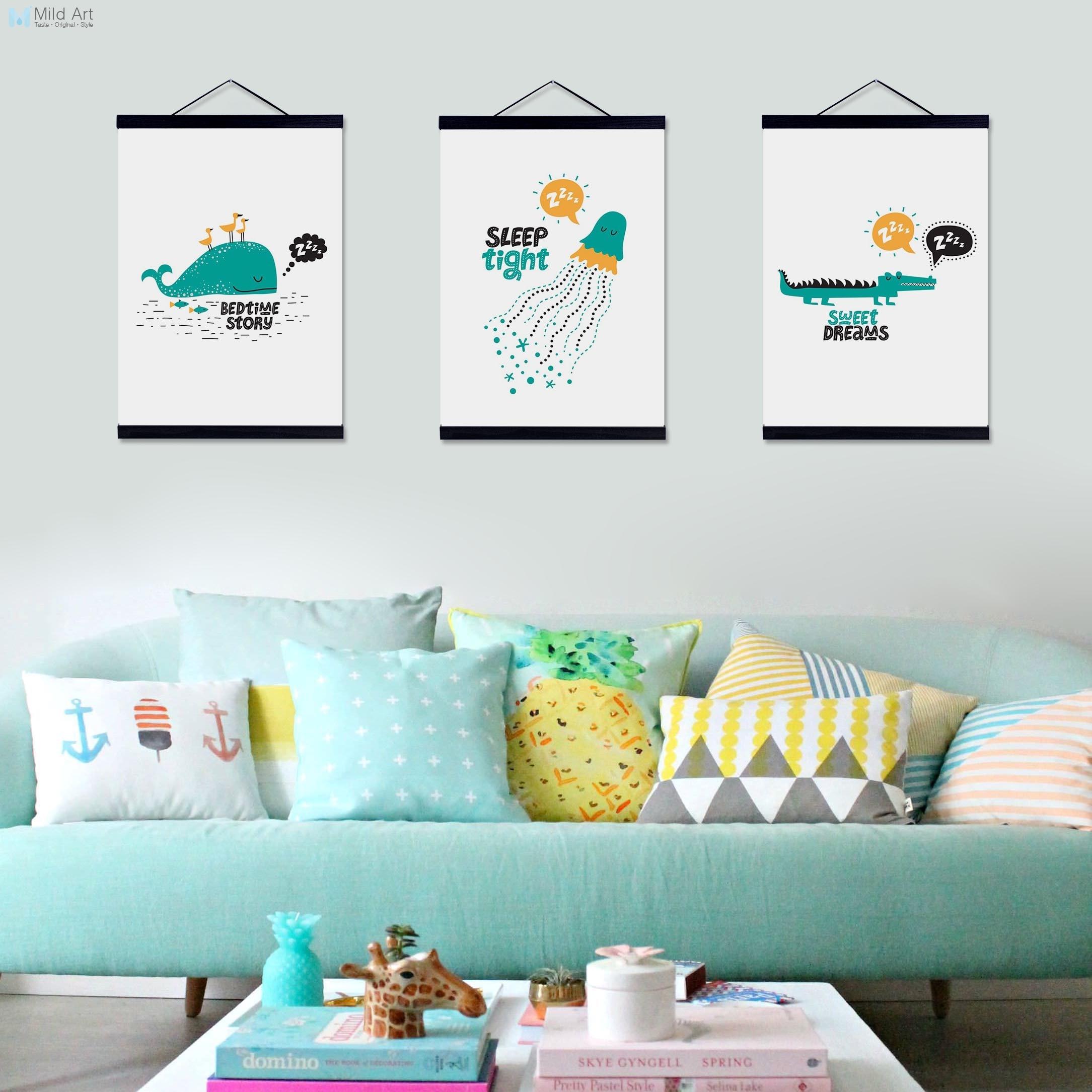 2019 Nieuwste Ontwerp Leuke Slapen Dieren Eend Krokodil Houten Ingelijst Canvas Schilderij Nordic Kids Baby Bed Kamer Deco Wall Art Foto Poster Scroll Perfect In Vakmanschap