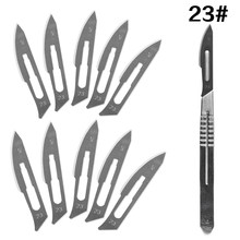 10 pc 20#--23# Carbon Steel Surgical Scalpel Blades + 1pc 4# Handle Scalpel DIY Cutting Tool PCB Repair Animal Surgical Knife(China)