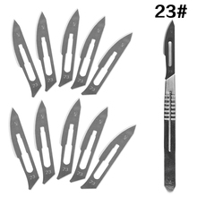 10 pc 20#--23# Carbon Steel Surgical Scalpel Blades + 1pc 4# Handle Scalpel DIY Cutting Tool PCB Repair Animal Surgical Knife