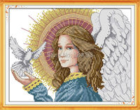 Wholesale Needlework,Stitch,DIY 14CT DMC Cross Stitch,Sets For Embroidery Kits,Angels of Peace Patterns Counted Cross-Stitching