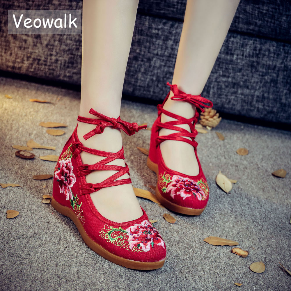 Veowalk Handmade Vintage Pumps Hidden Wedge Heel Women Cotton Embroidered Canvas Shoes Mid Top Ankle Strap Casual Pumps