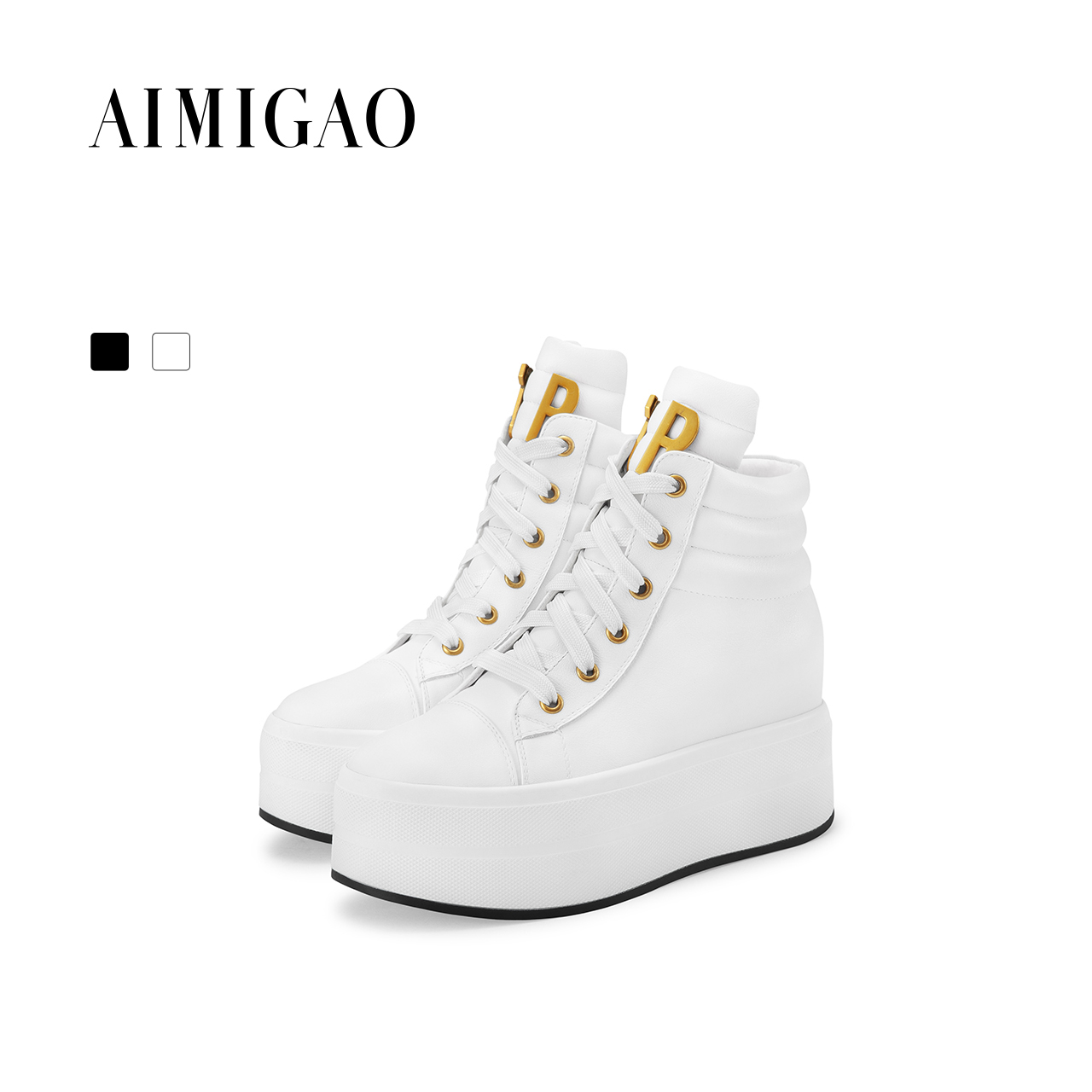 AIMIGAO Genuine Leather women casual white shoes comfortable thick bottom women shoes fashion Lace-up Flat shoes 2017 autumn women s shoes 2017 summer new fashion footwear women s air network flat shoes breathable comfortable casual shoes jdt103