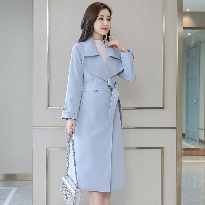 2019 Spring Autumn Women Korean   Trench   Coat Female Temperament Office Long Double-breasted Coats Plus Size 4XL Solid Overcoat