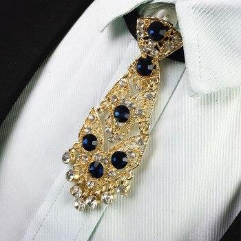 送料無料新しいファッション韓国メンズ男性男ダイヤモンドメタルネクタイ新郎ウェディングドレス襟独占ネクタイスターブローチセット