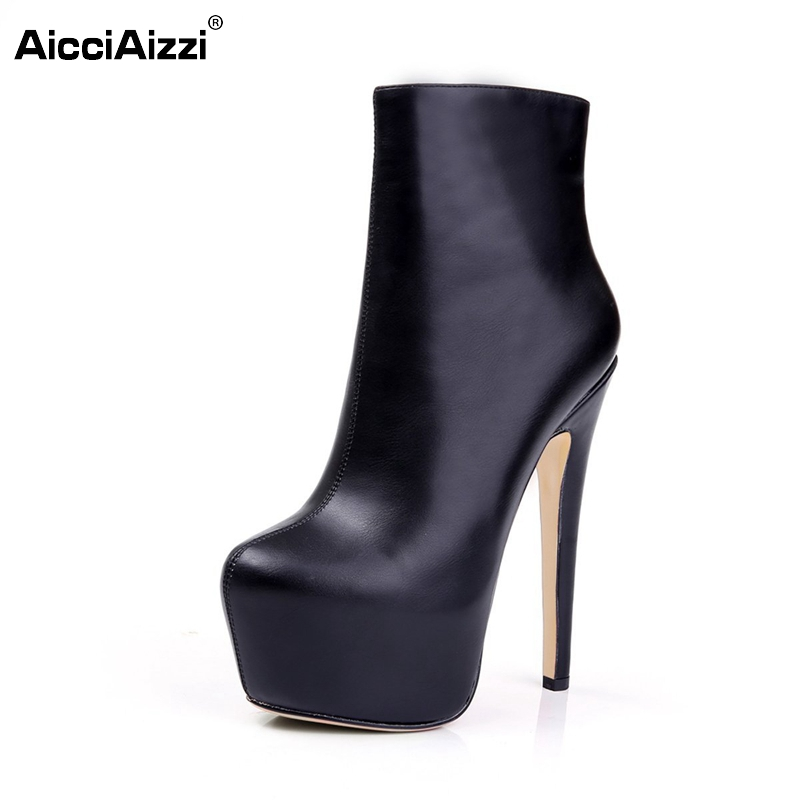 ФОТО Women Thin Heel Ankle Boots Woman Fashion Platform Stiletto Brand Quality Pointed Toe Shoes Zipper Woman Boots Size 35-46 B080