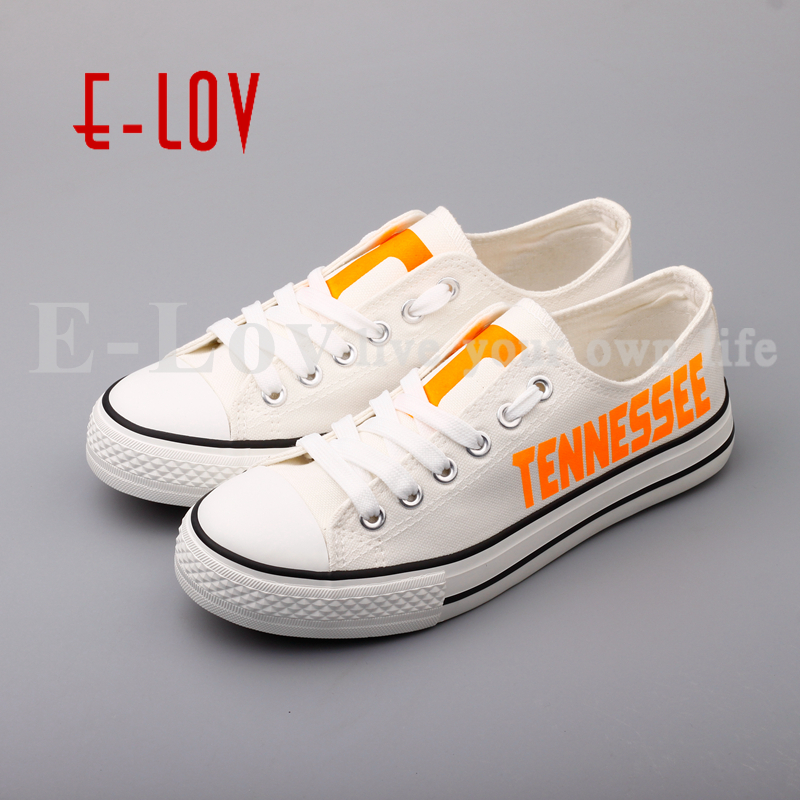 E-LOV College Custom-made Casual Shoes Tennessee Volunteers White Shoes Print Low Top Lace Canvas Shoes Drop Shipping e lov women casual walking shoes graffiti aries horoscope canvas shoe low top flat oxford shoes for couples lovers