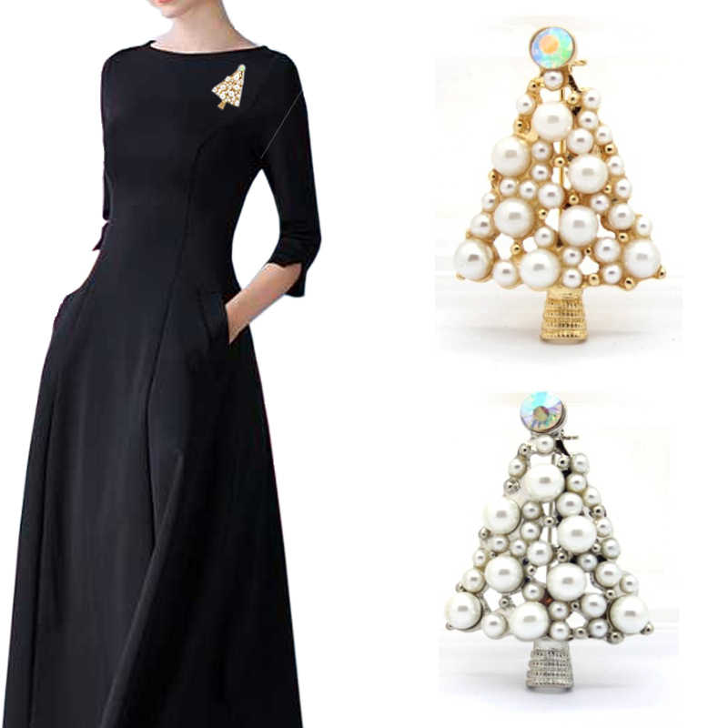Trendy 2018 Christmas Tree Brooch Sweet Fully Imitation Pearls Brooch Alloy Crystal Brooch For Women Cloth Jewelry Accessories