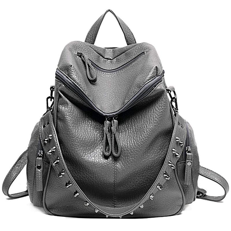 Women Backpack Purse 3 ways PU Washed Leather Rivet Studded Ladies Rucksack Shoulder Bag(gray)