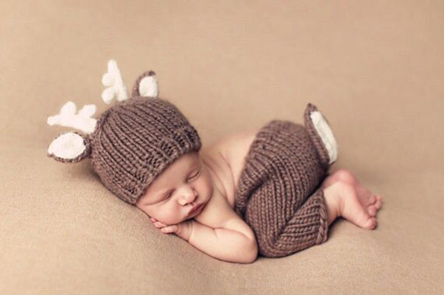 Baby Photography Props Crochet Costume Cartoon Reindeer Knitted Cap + Pant A015 Baby Costume Set Props For Newborns Accessory