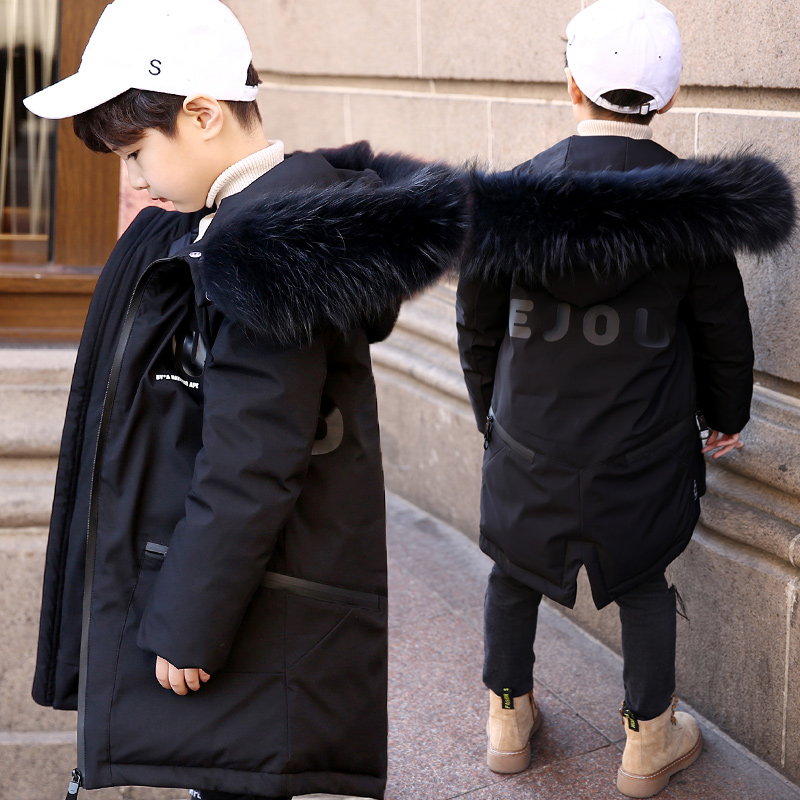 New Boys Winter Down Coat 8 to 16 Years Fur Hooded Children Patchwork Coat Big Boy Winter Jacket Boys Kids Warm Outerwear Parkas new 2017 winter boy down jacket thick warm boys downs coat kids down jacket for boys hooded collar children outerwear coat 3 14y