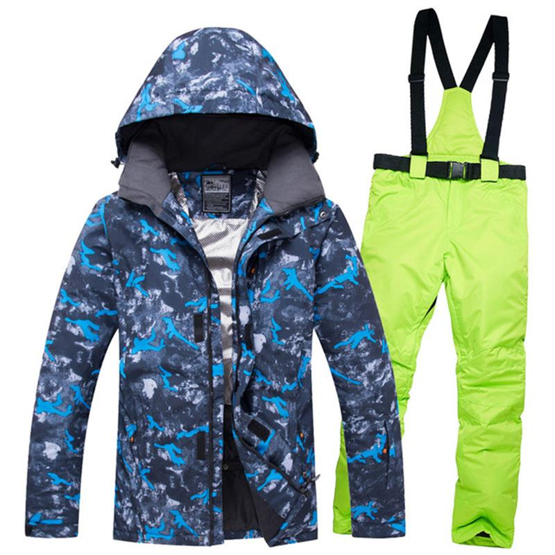 Men Skiing Snowboarding Jacket And Pants -30 Degrees Thermal Male Snow Ski Suit Waterpfoof Windproof Men's Snowboard Suits 2018 new lover men and women windproof waterproof thermal male snow pants sets skiing and snowboarding ski suit men jackets