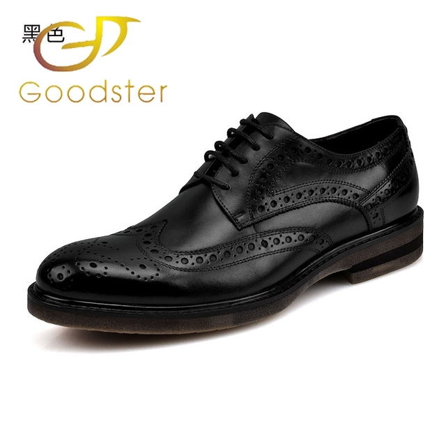 Goodster Italian Men Shoes Leather Flats Office Black Brown Genuinet Formal Dress