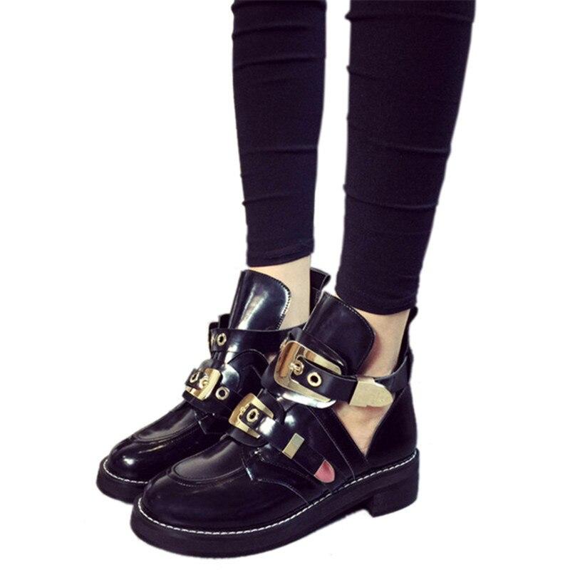 Punk Ankle Boots For font b Women b font Fashion Cut Out Boots Buckle font b