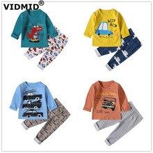 VIDMID baby boys pajamas clothing sets long sleeve t-shirts+ pants kids Boys cotton childrens Dinosaur cars underwear set 4049