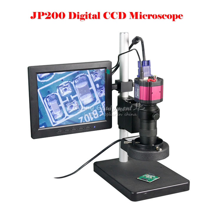 JP200 HD digital video CCD microscope suitable for precision metal industrial electronic repair quality test hd 5mp industrial digital video camera microscope cmos c mount electronic eyepiece free diver win7 8 10