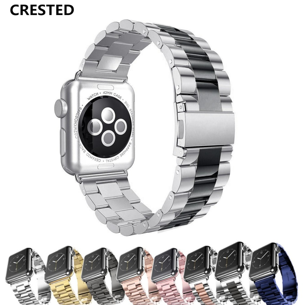 CRESTED Sport Strap For Apple Watch Band 38mm 42mm Iwatch 3 2 1 Stainless Steel Wrist band Link bracelet Watch band Strap