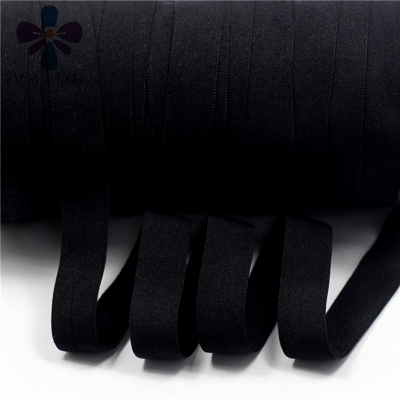 5/8 15mm Solid Plain Matt Fold Over Elastic FOE Elastic Ribbon 50y/lot handmade hair tie headband sewing supplies,Black