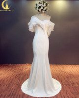 라인 진짜 샘플 섹시한 보트 넥 프릴 높은 새틴 인어 신부 웨딩 드레스 웨딩 드레