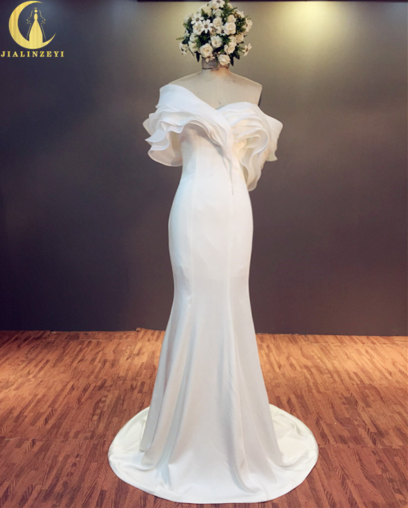 라인강 진짜 샘플 섹시한 보트 넥 프릴 새틴 인어 결혼 웨딩 드레스 웨딩 드레스