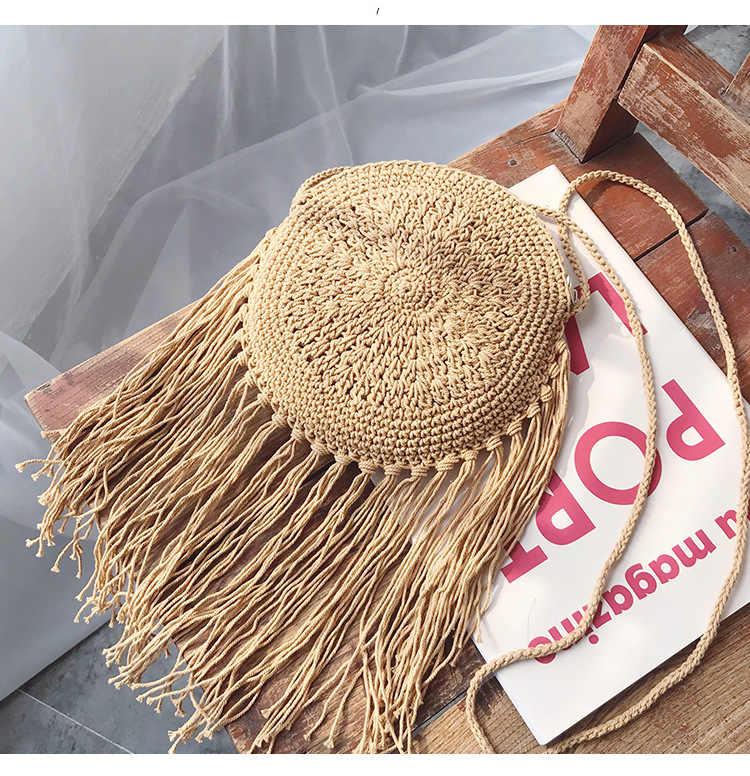 Bohemian Rodada Longa Borla Sacos De Palha de Vime Das Mulheres Crossbody Sacos de Senhora bolsa de Ombro Bolsa De Vime Pequenas Bolsas Sacos de Verão Praia de Bali