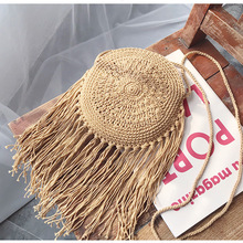 Bohemian Round Long Tassel Straw Bags Rattan Women Crossbody Bags