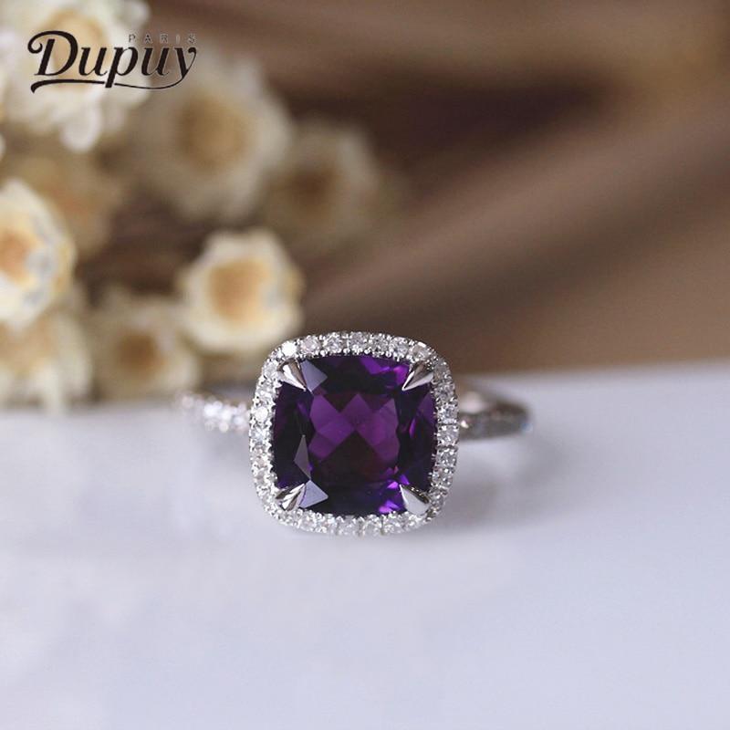 DUPUY Nouveau 14 k Bague En Or Blanc Célèbre Marque Bijoux 8mm 2.2ct Coussin De Coupe Améthyste Anneau Classique Ovale Diamant anneau D180029