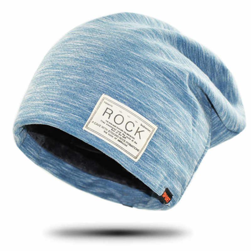 جديد النساء والرجال روك القماش علامة قبعة زائد الكشمير الشتاء قبعة للنساء موضة الدافئة قبعة 3 ألوان الرياضة قبعات للشتاء