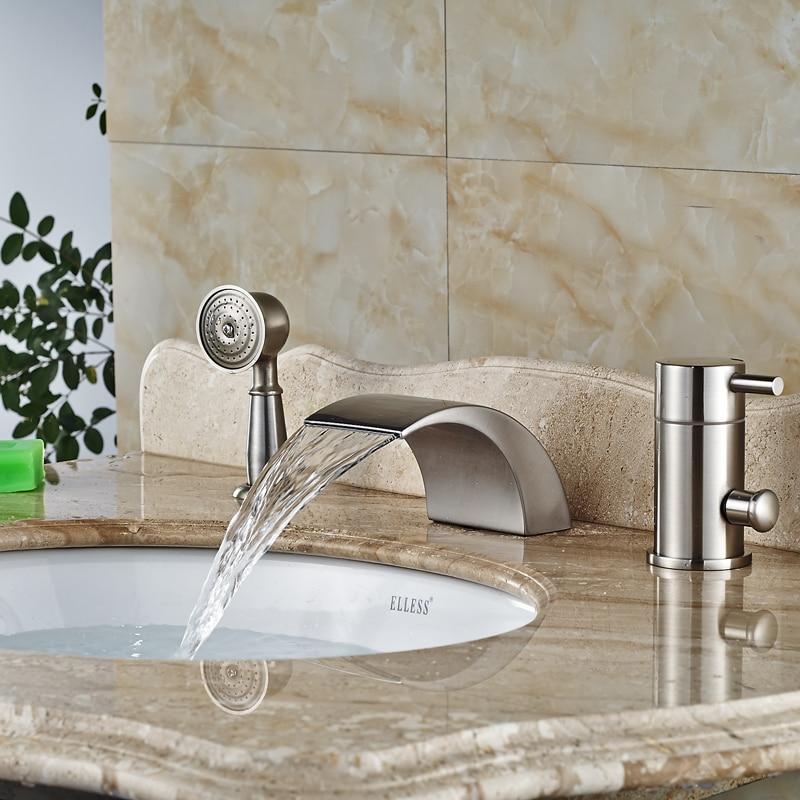 Deck Mount Vintage Bath Faucet Single Handle Waterfall Spout LED - Nickel finish bathroom faucets