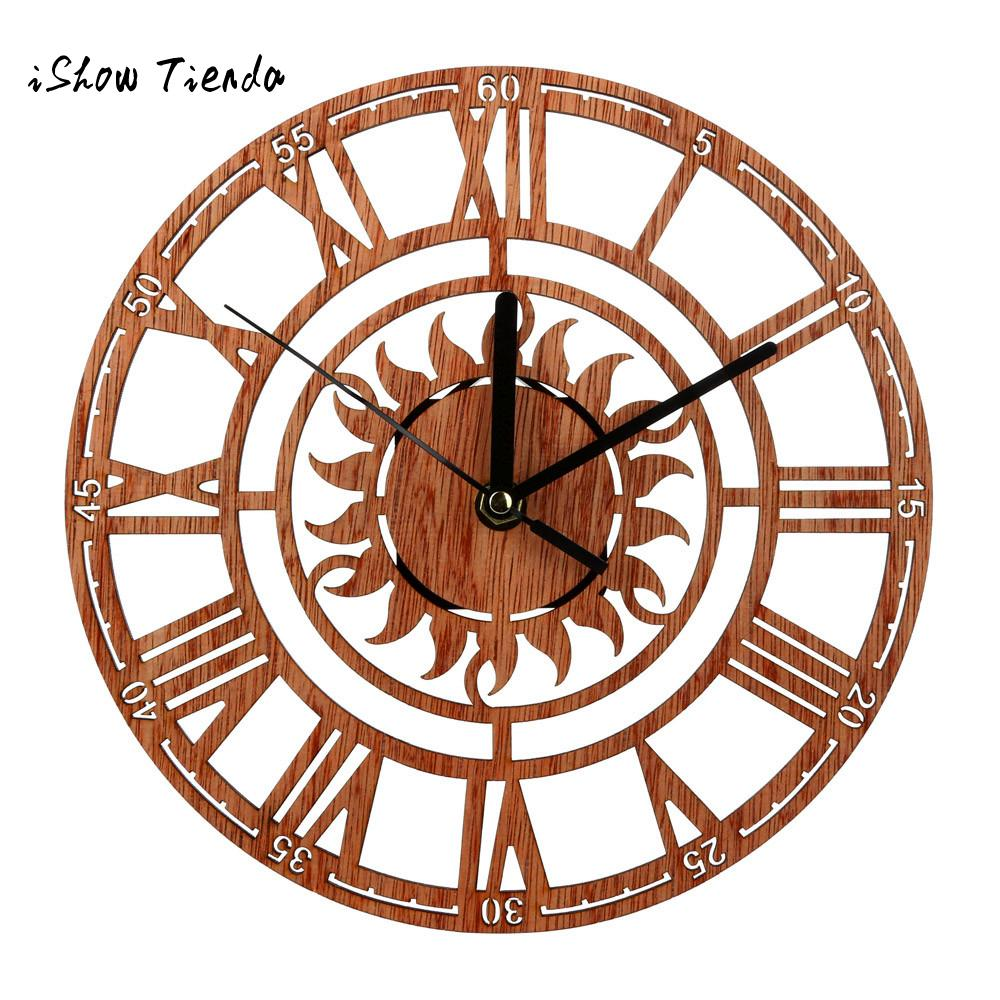 office wall clocks large. Vintage Style Non Ticking Silent Antique Wood Wall Clock For Home Kitchen Office Cafe Decoration Art Large Watch Style-in Clocks From