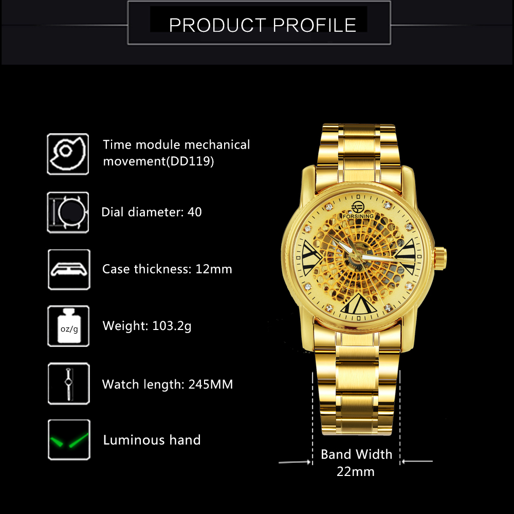 FORSINING Top Brand Luxury Dress Watch Men Auto Mechanical Skeleton Dial Golden Stainless Steel Strap Royal Classic Wristwatches 3