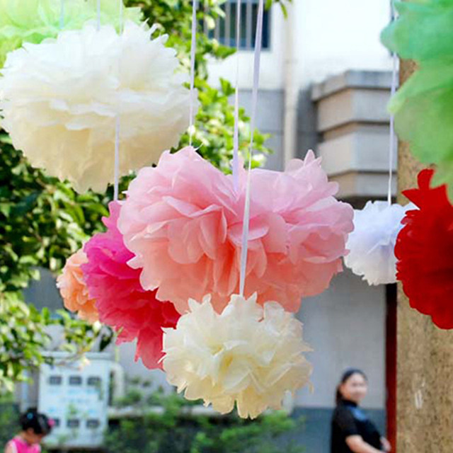 Online shop 5pcs 10 tissue paper pompom paper flowers birthday 5pcs 10 tissue paper pompom paper flowers birthday handmade partywedding party decoration baby shower favors pom poms decor mightylinksfo