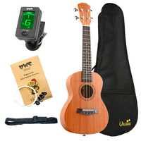 ABGZ-Bws Est & 1988 Concert Ukulele Kits 23 Inch Mahogany Wood Acoustic Cutaway Guitar Ukulele Hawaii 4 String Guita