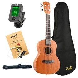 Abgz-bws est & 1988 concerto ukulele kits 23 Polegada madeira de mogno acústico recorte guitarra ukulele havaí 4 cordas guita