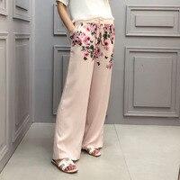 2018 Women Brand Designer Trousers Women Pink With Rose Printing Pants Wide Leg High Waist Pants