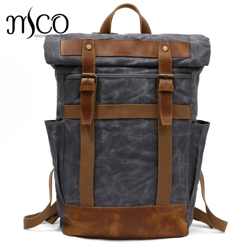 Hot New Vintage Men Laptop Backpack Large Capacity Multifunction Backpacks Male Canvas School Bags Portable Wearproof Travel Bag new vintage backpack canvas men shoulder bags leisure travel school bag unisex laptop backpacks men backpack mochilas armygreen