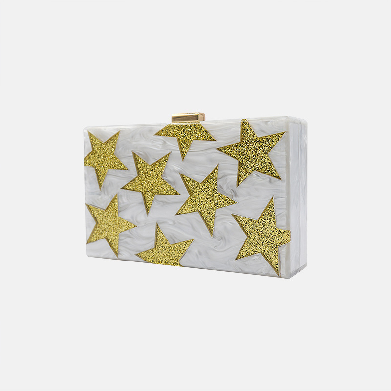 Women Gold Glitter Star Acrylic Purse Box Clutch Handbag Evening Bags Gold Chain Shoulder Bag For Party Acrylic Flap Box Bags fashion hot new aotian glitter sequins spangle handbag party evening clutch bag wallet purse dropshipping 72 24
