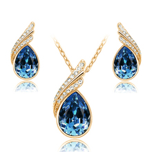 Fashion Austria Crystal Water drop Leaves Earrings necklace jewelry sets Classic design yellow Gold plated women gift g202
