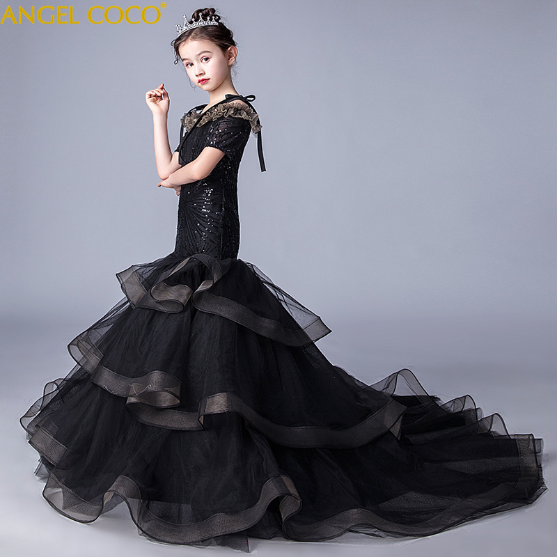New Princess Lace Dress Kids Flower Mermaid Dress For Girls