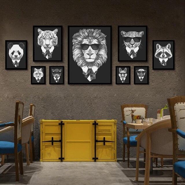 שחור ולבן אופנה משקפי שמש חיות מאפיה האריה נמר בד ציור בגדי כלב חתול פוסטר קיר תמונות הדפסי דקור
